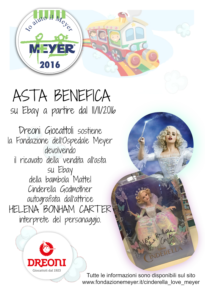 Cinderella loves Meyer asta benefica grazie a Dreoni giocattoli