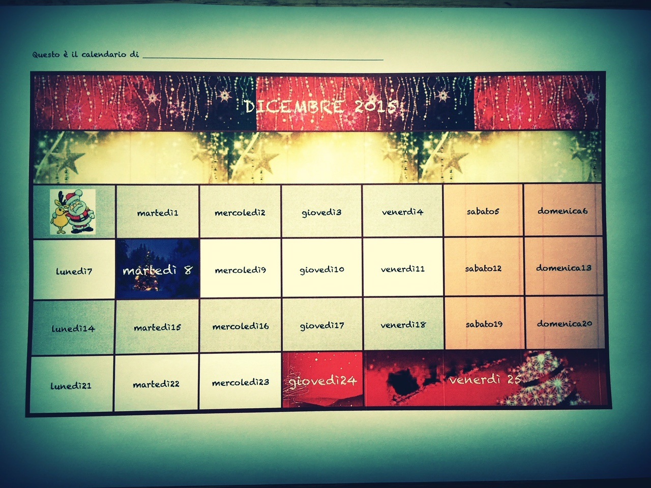 Calendario di Natale per bambini da stampare