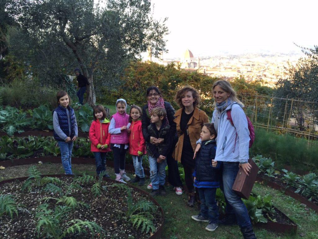 Giardino di villa Bardini d'inverno con i bambini